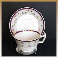 Wedgwood Cup & Saucer, Vintage Pink Lustre, Handpainted, London Handle