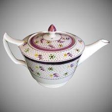Wedgwood Bachelor Teapot, Vintage Pink Lustre, Handpainted
