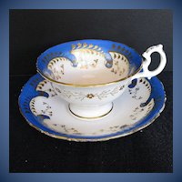 Antique English Cup & Saucer,  Blue w/gilding, Samuel Alcock  Early 19th C