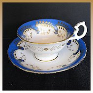 """Samuel Alcock Cup & Saucer, """"Rustic Bean"""" Handle, Antique Early 19th C"""