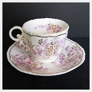 Antique Coalport Cup & Saucer, Pink & Gold, Early 19th C