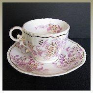 John Rose Coalport Cup & Saucer, Pink & Gold, Antique Early 19th C English Porcelain