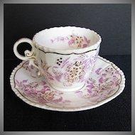 John Rose Coalport Cup & Saucer, Pink & Gold, Antique Early 19th C English Porcelain
