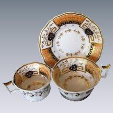 Rare John Yates Trio: Tea & Coffee Cups + Saucer, Antique Early 19th C English Porcelain