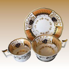 Rare John Yates Trio: Tea & Coffee Cups + Saucer, Antique Early 19th C English Porcelain