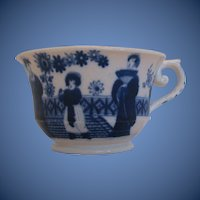 Antique English Chinoiserie Cup, Dark Blue, Hilditch Early 19th C