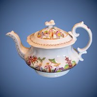 "Antique English Teapot, ""Dancing Dog"", Early 19th C Chinoiserie,  Hilditch"