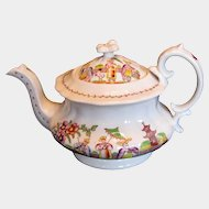 """Antique English Teapot, """"Dancing Dog"""", Early 19th C Chinoiserie,  Hilditch"""