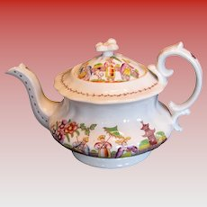 """Hilditch Teapot, """"Dancing Dog"""", Antique Early 19th C English Chinoiserie"""