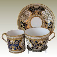 Early Spode Trio: Tea Cup, Coffee Can & Saucer, Rare Blue Dollar Pattern, Antique 19th C