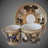 Antique Spode Trio: Tea Cup, Coffee Can & Saucer, Rare Blue Dollar Pattern, Early 19th C
