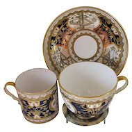 "Spode Trio: Tea Cup, Coffee Can & Saucer, Rare Blue ""Dollar Pattern"", Antique Early 19th C"