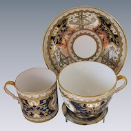 """Spode Trio: Tea Cup, Coffee Can & Saucer, Rare Blue """"Dollar Pattern"""", Antique Early 19th C"""