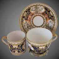 "Antique Spode Trio: Tea Cup, Coffee Can & Saucer, Rare Blue ""Dollar Pattern"", Antique Early 19th C"