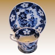 "Hilditch Cup & Saucer, ""Eskimo Child"" Chinoiserie, Antique Early 19th C English"