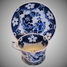 """Hilditch Cup & Saucer, """"Eskimo Child"""" Chinoiserie, Antique Early 19th C English"""