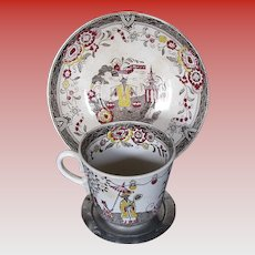 Antique Swedish Chinoiserie  Cup & Saucer,  Gustavsberg, 19th C