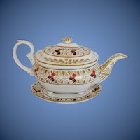 Antique English Teapot & Stand, Bloor Derby Porcelain, Early 19C