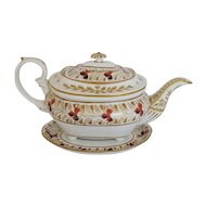 Derby Porcelain Teapot + Stand, Antique Early 19th C English