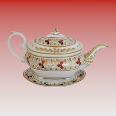Fine Bloor Derby Porcelain Teapot and Stand, Antique Regency Period