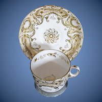 Antique English Cup & Saucer, Heavily Gilded,  Early 19th C Davenport