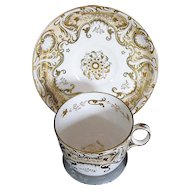 Fine Davenport Porcelain Cup & Saucer, Heavily Gilded, Antique Early 19th C English