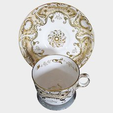 Antique Davenport Porcelain Cup & Saucer, Heavily Gilded,  Early 19th C English