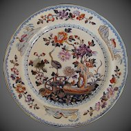 Antique English Plate, Chinoiserie Stork,  Stone China, Early 19th C Davenport