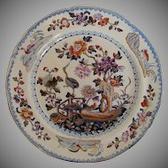 Davenport Stone China Plate, Chinoiserie Stork, Antique Early 19th C English