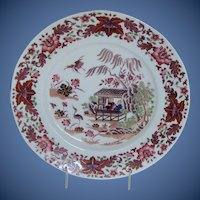 Antique English Chinoiserie Plate,  Chamberlain's Worcester, Early 19th C