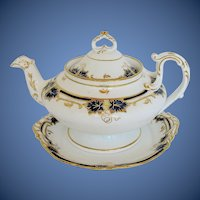 Antique English Teapot & Stand, Cobalt  & Gold, Davenport Early 19th C