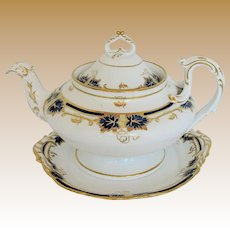 Davenport Teapot & Stand, Cobalt  & Gold, Bone China, Antique Early 19th C
