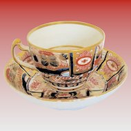 """Chamberlain's Worcester Cup & Saucer, """" Admiral Nelson""""  Pattern,  English Imari, Early 19th C"""