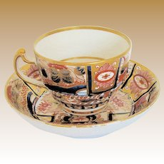 "Chamberlain's Worcester Cup & Saucer, "" Admiral Nelson""  Pattern,  English Imari, Early 19th C"