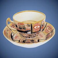 """Antique English Imari Cup & Saucer, """"Admiral Nelson"""", Chamberlain's Worcester Pattern 240, Early 19th C"""