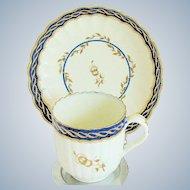 Antique English Cup & Saucer,  Caughley 18th C Porcelain