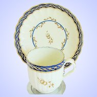 Antique English Cup & Saucer,  Caughley 18th C Porcelain