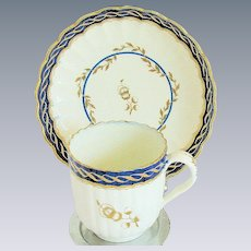 Caughley Cup & Saucer, Hand Painted, Antique 18th C English Porcelain