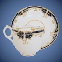 Antique English Cup & Saucer, Blue & Gold, Davenport Porcelain 19th C