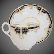 Antique English Cup & Saucer, Blue & Gold, Davenport Porcelain 19th C