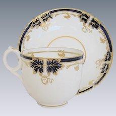 Fine Davenport Porcelain Cup & Saucer, Blue & Gold, Antique 19th C English
