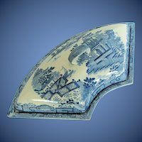 Antique Davenport Blue & White Supper Dish & Cover, Early 19th C English