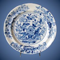 """Antique English Plate, Blue & White Floral """"Dresden"""" Pattern,  Early 19th C  Ridgway"""