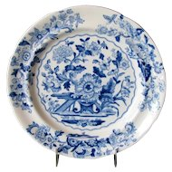 "Ridgway ""Dresden""  Plate, Blue & White Floral,  Antique Early 19th C English Chinoiserie"