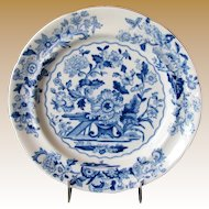 """Ridgway """"Dresden""""  Plate, Blue & White Floral,  Antique Early 19th C English Chinoiserie"""