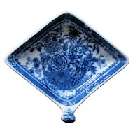 "Minton Pickle Dish, Diamond Shape with Handle, ""Basket"" Pattern, Antique Early 19th C"