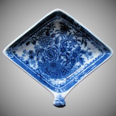 """Minton Pickle Dish, Diamond Shape with Handle, """"Basket"""" Pattern, Antique Early 19th C"""