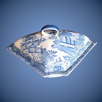 Antique Davenport Supper Dish & Cover,  Blue & White, English c 1795