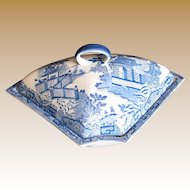 Davenport Supper Set Segment & Cover,  Blue & White, Antique Late 18th / Early 19th C English