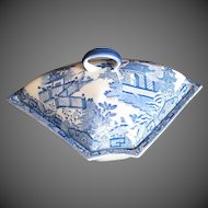 Antique English Supper Dish & Cover,  Blue & White,  Davenport, c 1795